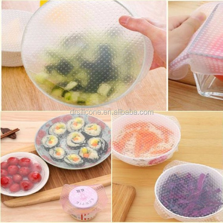 BPA free food grade new arrival reusable moisture-proof clear color stretch silicone food wrap film to keep foods fresh