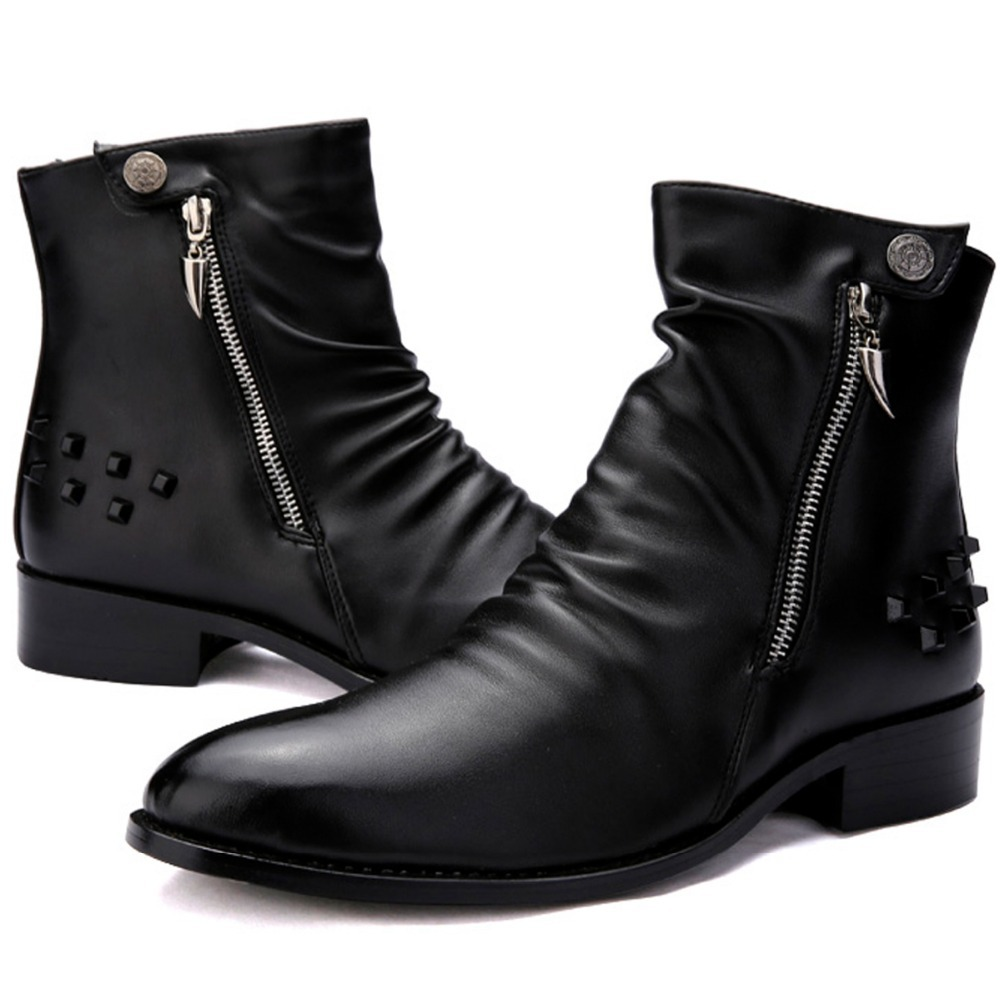 eb73c724f64 Buy Cool Fashion Stylish Quality Leather Motorcycle Ankle Boots Mens Punk  Rock Shoes Rivet Studded With Zip   Button Spring Autumn in Cheap Price on  ...