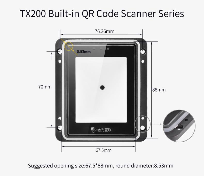 Scanner de código de barras tx200, scanner de código de barras qr, módulo usb 2d