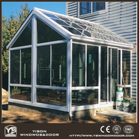 Fashionable design customized size lowes glass sun room for villa garden