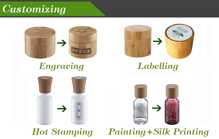 China supplier cosmetic packaging 50g empty bamboo cream jar