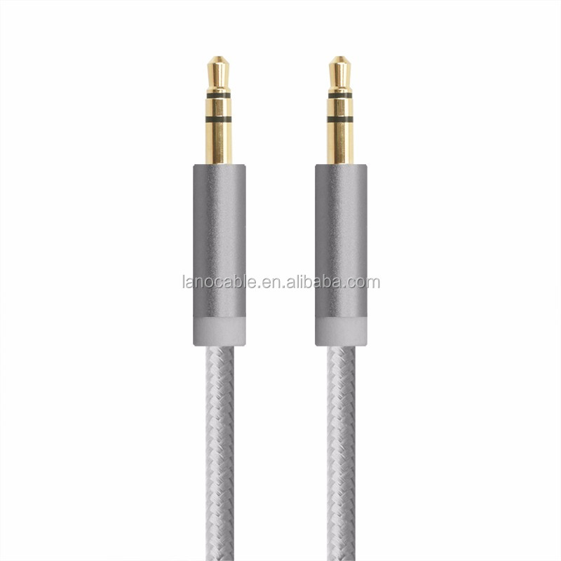3m long fabric braided audio aux cable 3.5mm