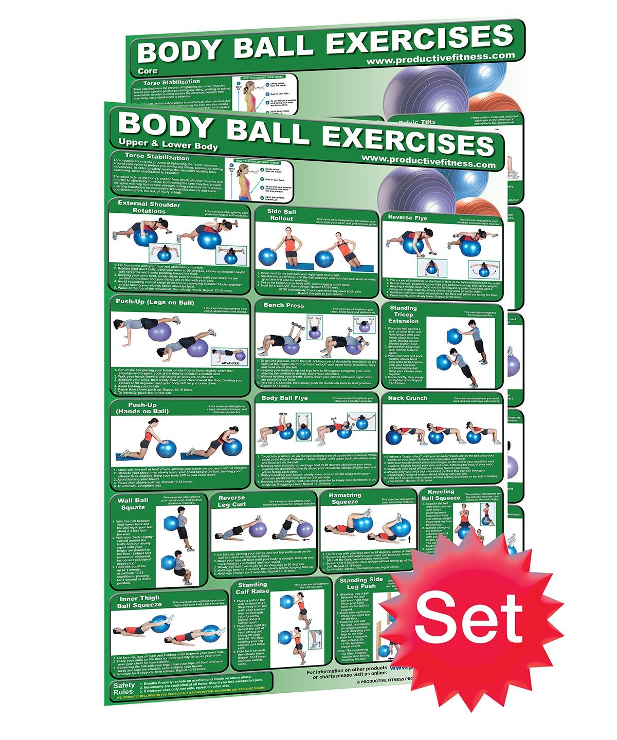 Cheap free motion fitness exercises find free motion fitness get quotations laminated set of 2 fitness ball poster charts created by university accredited fitness experts fandeluxe Images