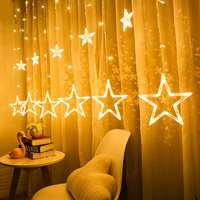 Christmas wedding star lights five-pointed star curtain lights anchor background decorative lights