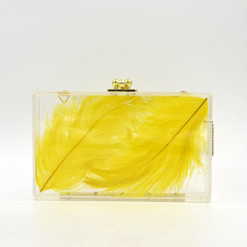 2016 Top selling China customize transparent clear acrylic clutch bag with yellow feather inside women shopping bags party bag