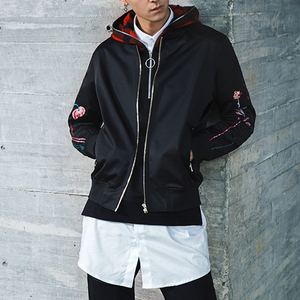 Dashing Floral Embroidery Bomber Jackets Men Custom For Oem Service