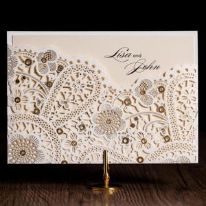 Delicate Laser Cut muslim wedding invitation card