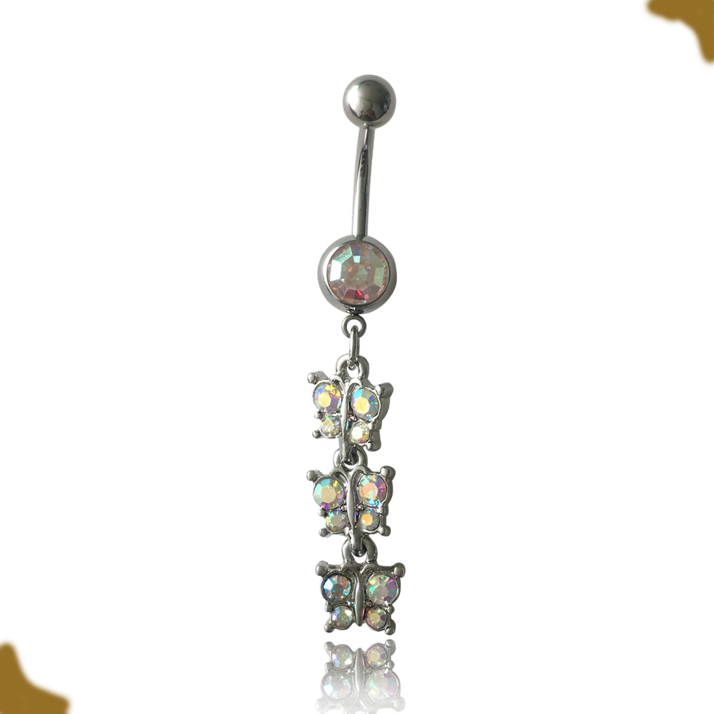 316l Surgical Stainless Steel Double Gems Navel Piercing Anchor Belly Ring Buy Anchor Belly Ring Stainless Steel Navel Piercing 316l Surgical Anchor