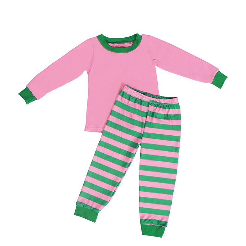 थोक बच्चों के बुटीक कपड़े हरे और गुलाबी धारीदार क्रिसमस पजामा बच्चे लड़की कपड़े