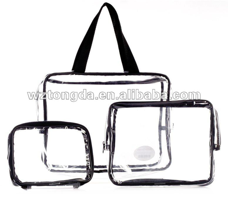 2015 Custom Clear Pvc Shopping Black Handle Bag