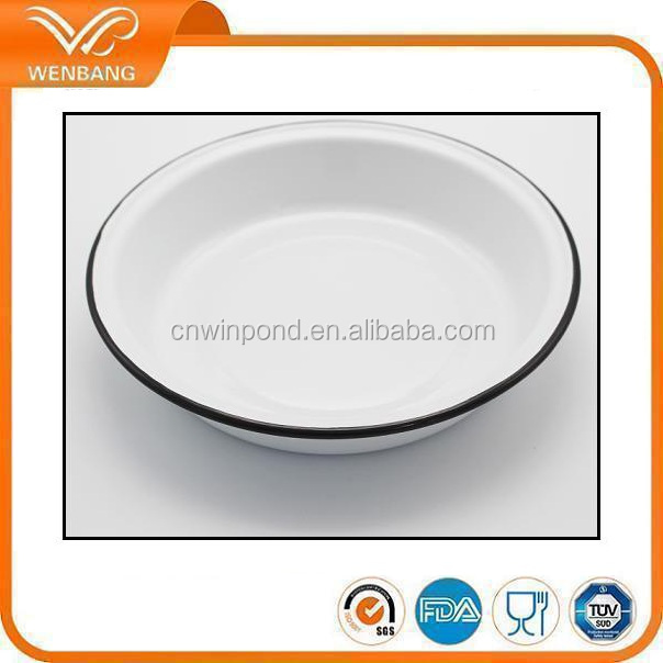 Unbreakable chinese dinner plate 20-26cm carbon steel enamel kitchen dishes