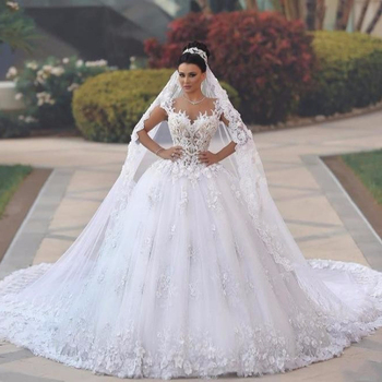 Zh2891g Luxury Princess Ball Gown Wedding Dresses Vestido De Noiva Fl Lace Lique Royal