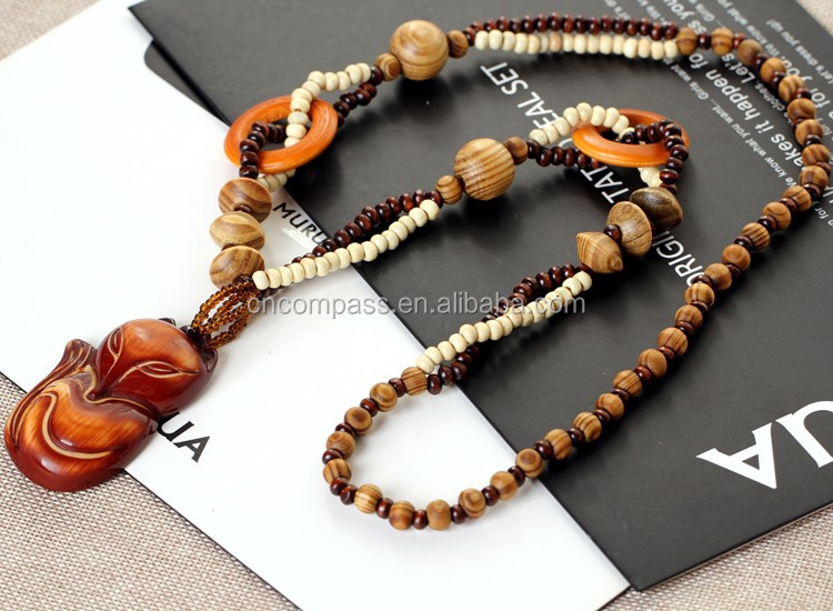 Fashion Bohemian Vintage Ethnic Wood Animal Long Handmade bead Necklaces&Pendants for Women Statement Necklace Jewelry