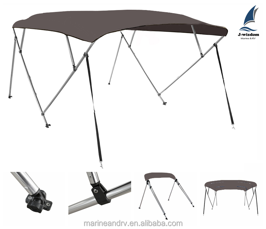4 Bow Aluminum Round Tube Boat Canopy of Polyester Canvas