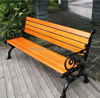 2018 Most Innovative Timber Back Wood Slats Seating Cast Iron Slat Bench For Outdoor Garden Park