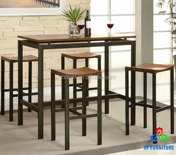 Modern Lounge Pub Furniture Metal Legs Frame Wood Top Bar Dining Table Set
