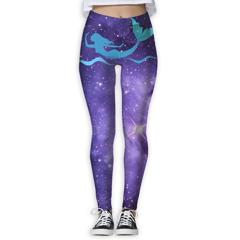 92596939d7 Get Quotations · XDDFRTFF Women¡¯s Mermail Girl Print Yoga Workout Leggings  Skinny Tights Active Yoga Pants