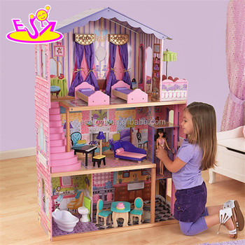 new design 16 pieces of furniture elegant dollhouse suite wooden 18 inch doll house for children - Wooden Dollhouses Designs