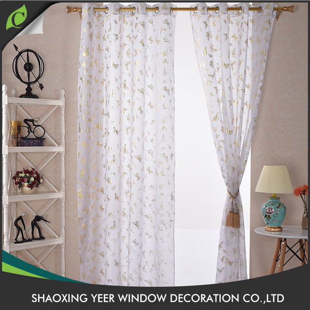 New Style Woven Polyester Voile Crest Classic Home Design Curtains