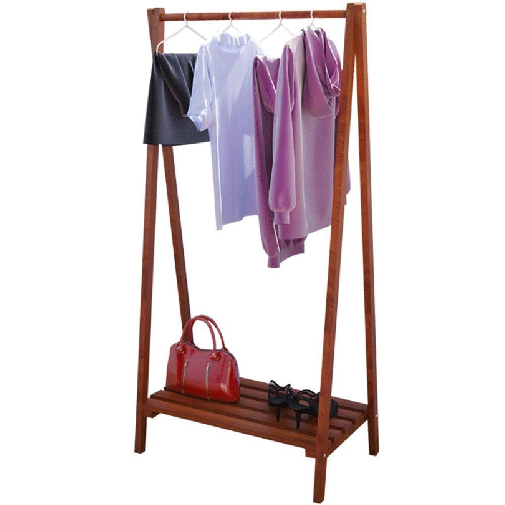 COAT RACK ZHIRONG Garment Clothing Rack Solid Wood Coat Stand Storage Rack With Shelf For Hats, Bags, Shoe, Clothes Living Room Furniture, 5730118CM / 6340153CM (Color : Brown, Size : 5730118CM)