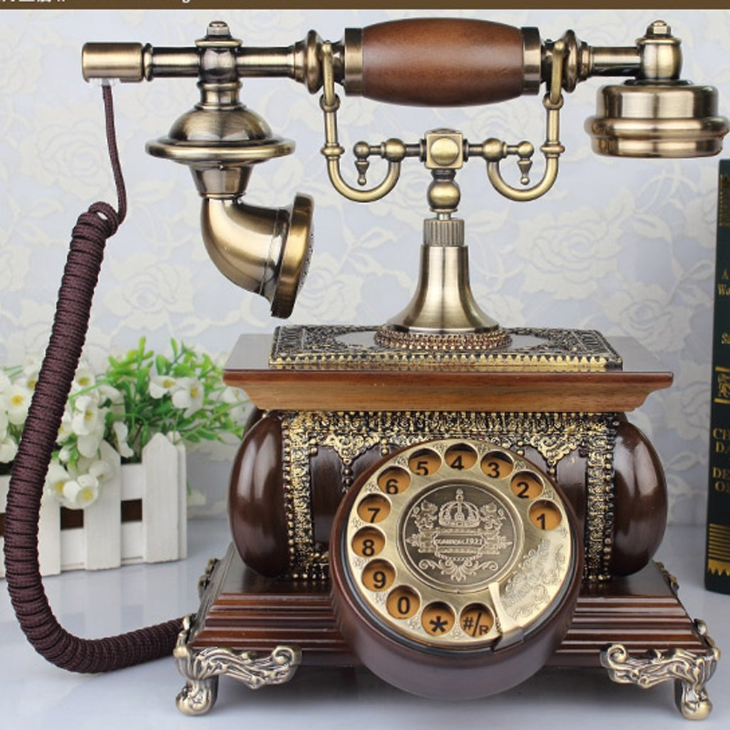 Hyun times European - Style Retro Phone Living Room Home Fashion Creative Antique Solid Wood Fixed Telephone Landline