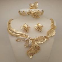 High Quality Fashion Nigerian Wedding African Beads Jewelry Sets Dubai Gold Plated Jewelry Sets 18K Costume Romantic Long Design