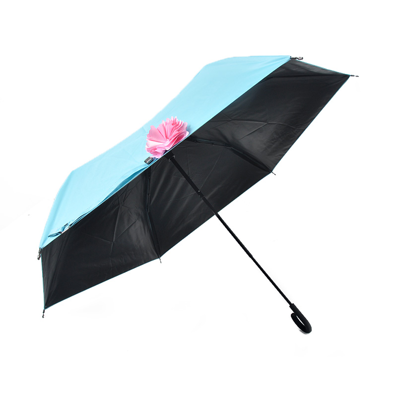 LV-03 fashion lady golden sun protection 3 fold umbrella