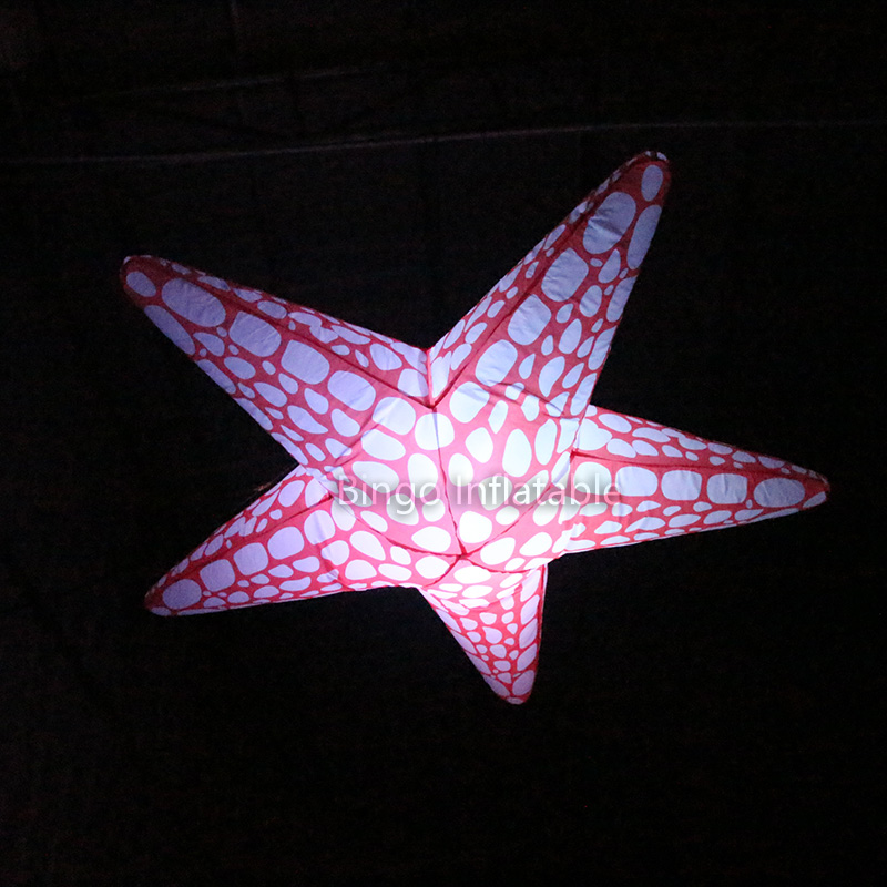 Hanging type LED inflatable starfish light for nightclub decoration