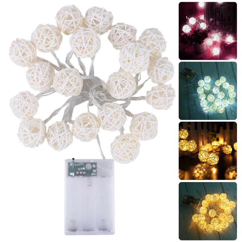 White/ Warm White AC110V-125V 2M/20LED Rattan Ball LED String Christmas Lights Garlands for Holiday Wedding Party