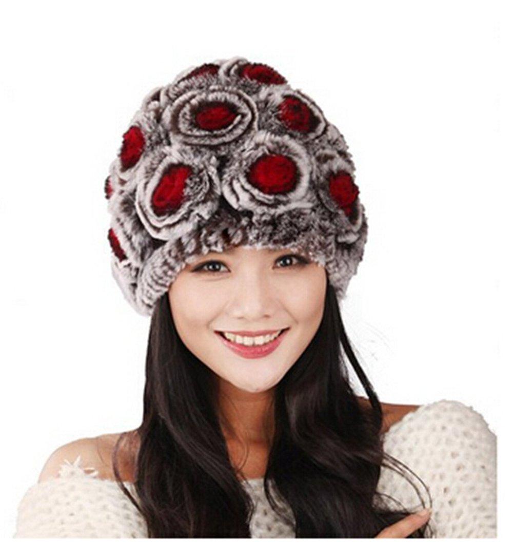 e211ce69d47 Get Quotations · Roses Hats Rex Rabbit Fur Knit Beanie Hats Bubble Hats  Multicolor