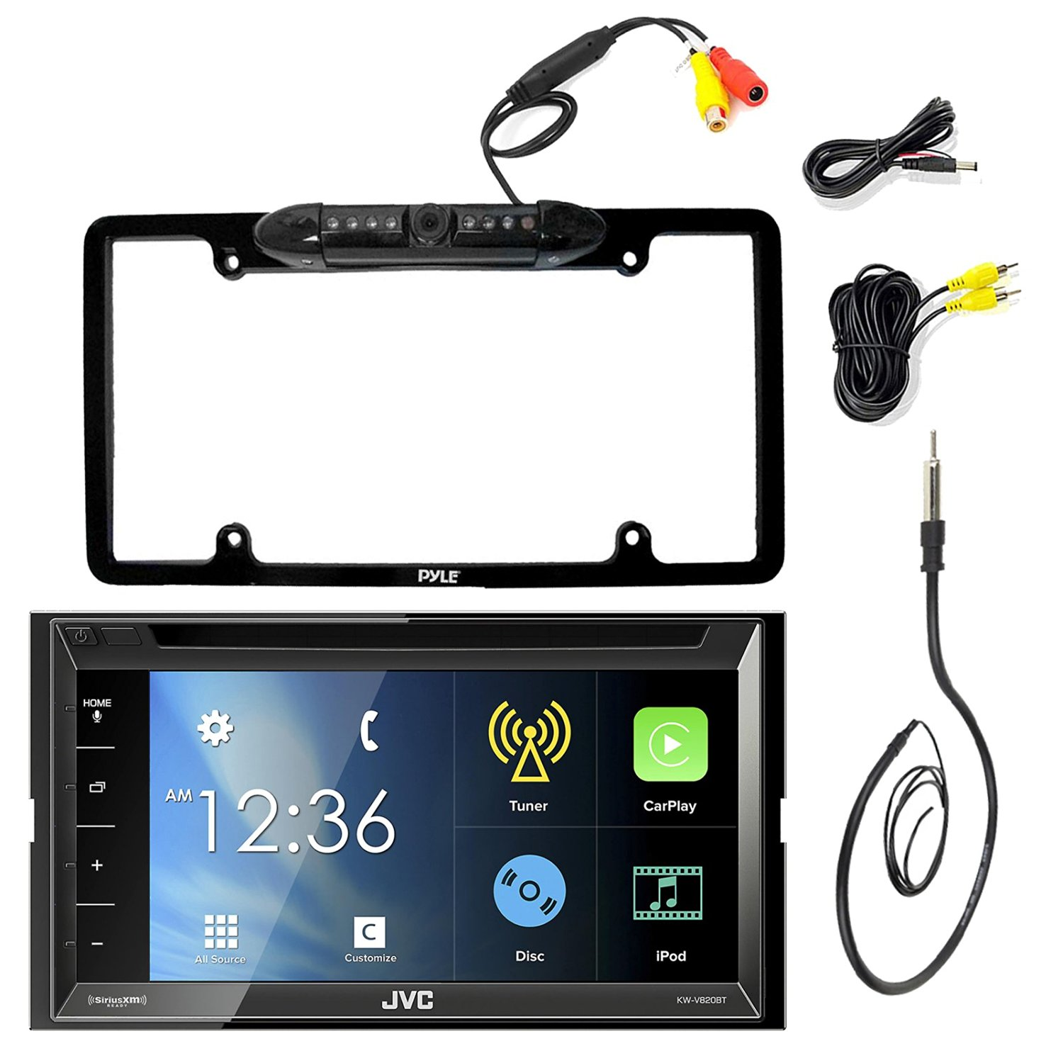"JVC KW-V820BT 6.8"" Inch Double DIN Car CD DVD USB Bluetooth Stereo Receiver Bundle Combo With Kenwood Rearview Wide Angle View Backup Camera, Enrock 22"" AM/FM Radio Antenna"
