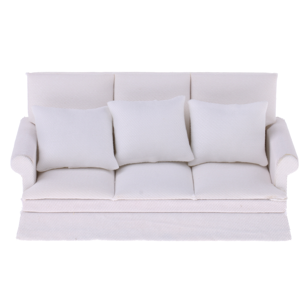 Wondrous Modern Wood White Mini Three Seat Couch Sofa Pillow Miniature Furniture Set For 1 12 Scale Dollhouse Accessory Girls Toy Dailytribune Chair Design For Home Dailytribuneorg
