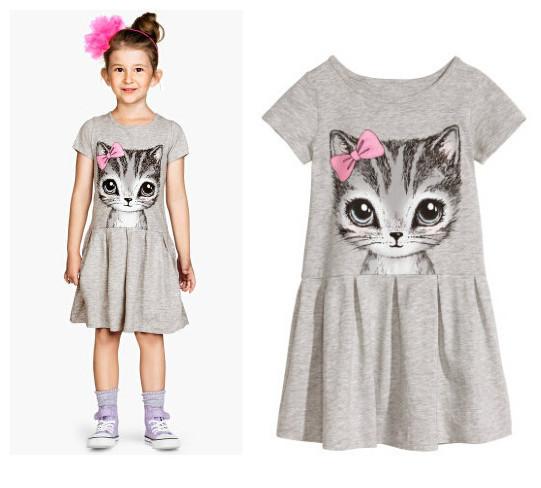 summer girl dress cat print grey pink baby girl dress children clothing children dress 3 10years
