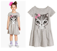 summer girl dress cat print grey pink baby girl dress children clothing children dress 3-10years New Arrival