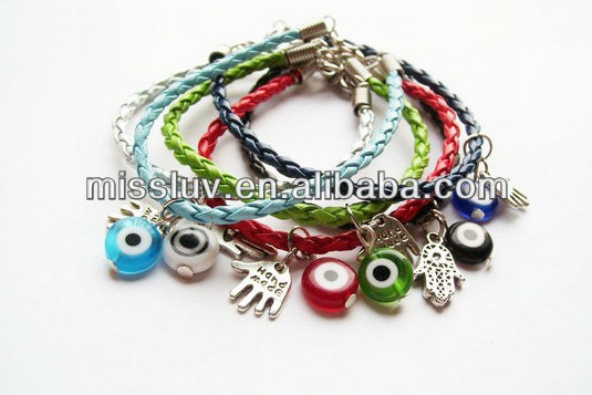Europe Bohemia street supplication bracelets,gold Buddha's-hand charm bracelets,2013 Turkey eyes fake leather bracelets