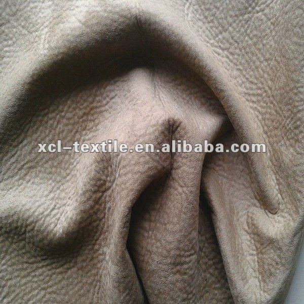 XCL bronzing gold print suede bonded with single faced flannelet for sofa making