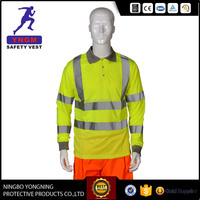 Roll- neck reflective safety polo shirt with pocket / polyester polo shirt with long sleeve