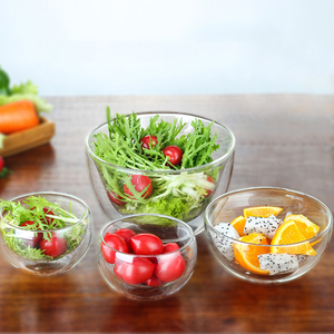Best selling transparent double wall glass salad bowl