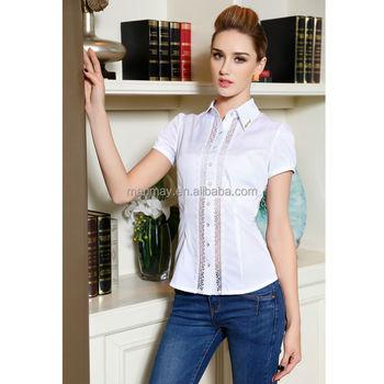 8265ed2c60c37 Mais recente manga curta rendas projeto uniforme do escritório blusa da  senhora design de moda senhora