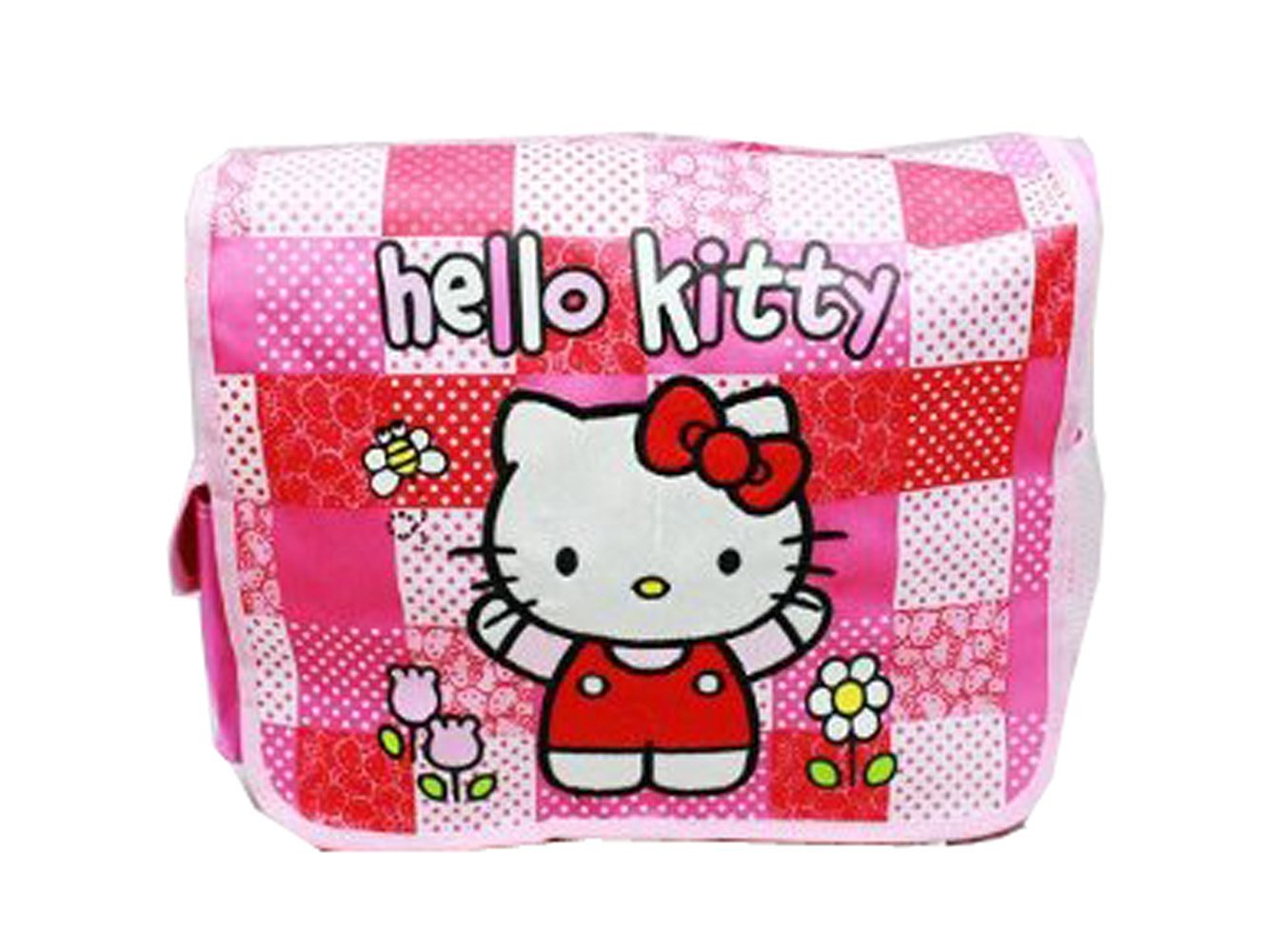 3cce7cce8 Get Quotations · Pink and Red Checkered Flowers Hello Kitty Messenger Bag - Hello  Kitty Laptop Bag