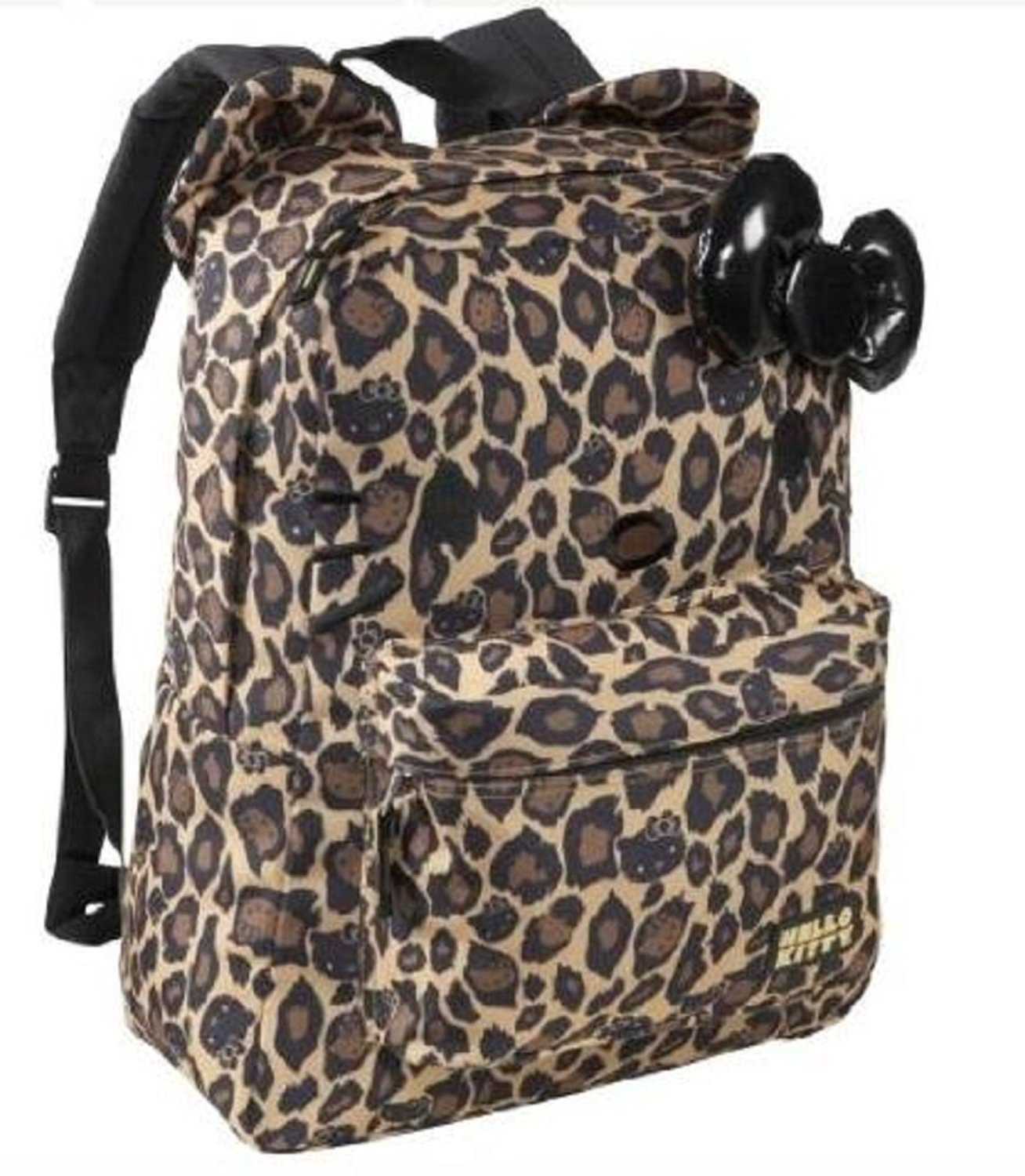 Hello Kitty Leopard Print Backpack with Ears and 3D Bow - Full Size Backpack  16
