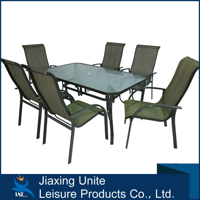 7 seater patio sling chair and Rectagular table set -outdoor dining set