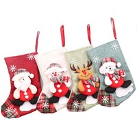 2019 wholesale custom polyester kids cute gift christmas hanging socks santa luxury stocking decoration
