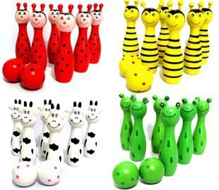 1Set Free Shipping Cute Wooden Animal Style Bowling Toy Bowling Balls Game Baby Intellectual Toys Children