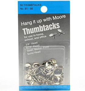 Moore Solid Head, Nickel-Plated Thumbtacks (3/8 In. Head, 5/16 In. Point) [6 Pieces] - Product Description - Moore Solid Head, Nickel-Plated Thumbtacks- Size: 3/8 In. Head, 5/16 In. Point- Unit: Pack Of 50These Heavy-Duty Thumbtacks Are Made Of ...