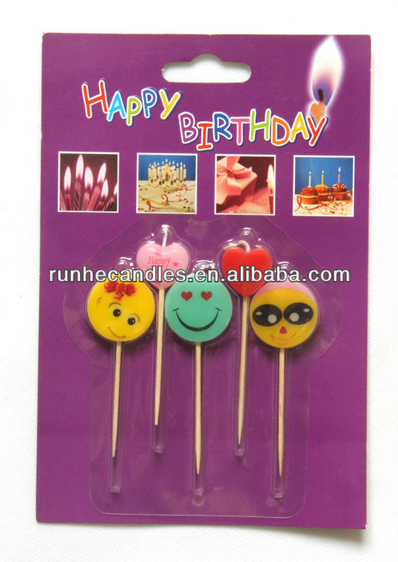 2014 lovely face toothpick birthday candle