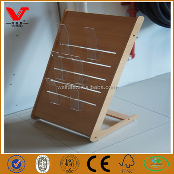 Hotel Lobby Wooden Brochure Stand Table Top Flyer Display