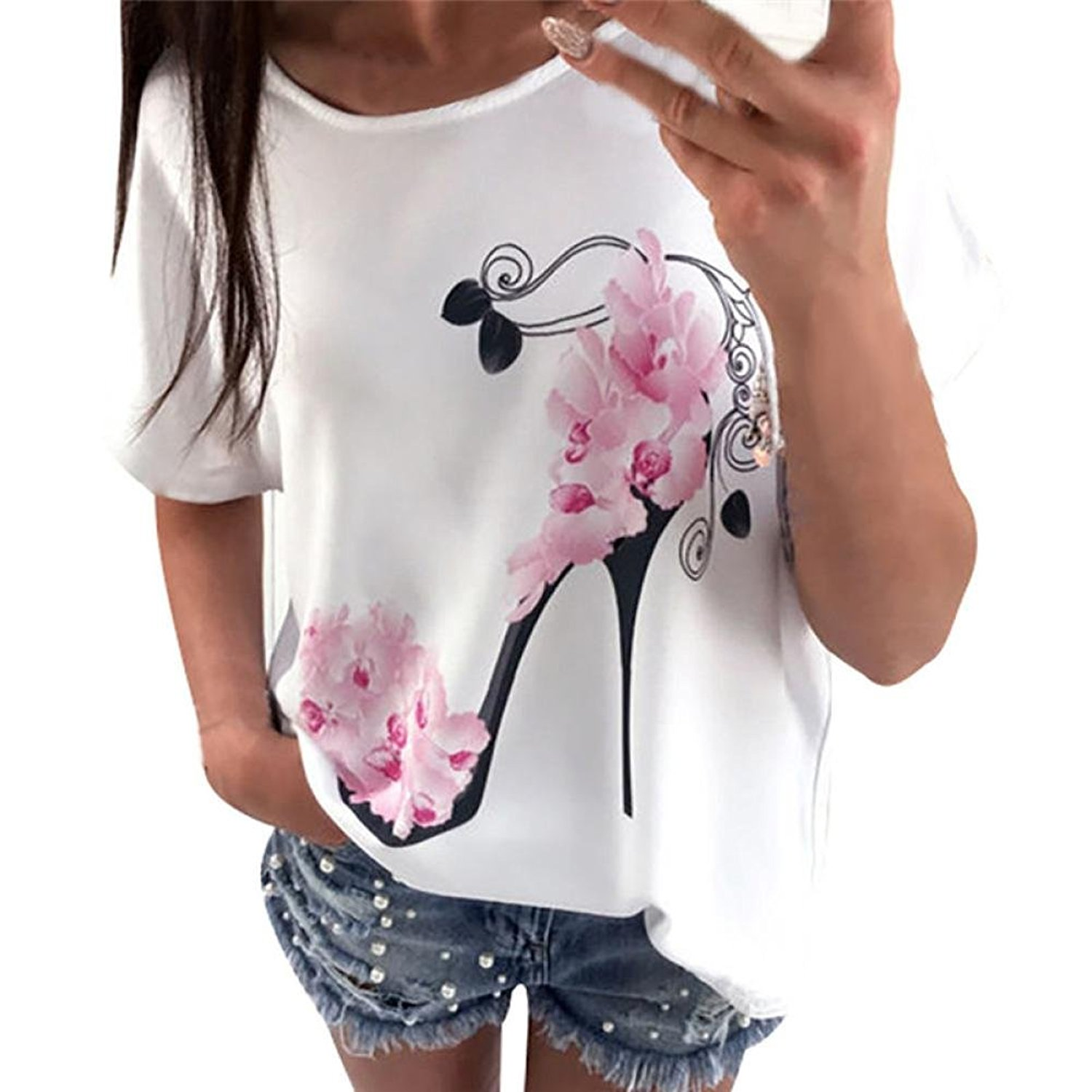 e12220460 Get Quotations · Keepfit High Heels Printed Blouse, Casual Loose Short  Sleeve Blouse Floral Printing Beach Tops for