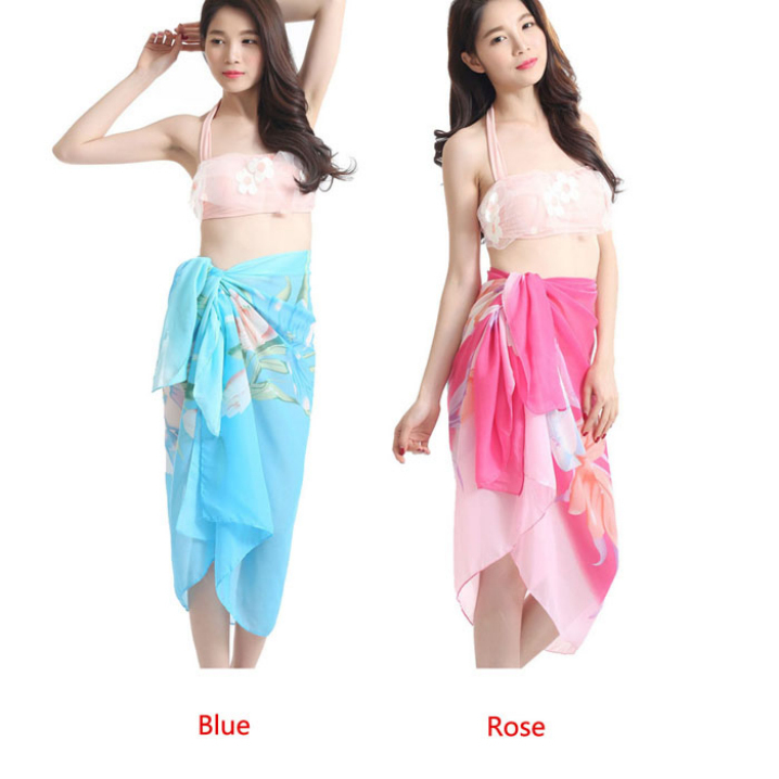 5766890e19f04 Get Quotations · Essential Women Swimwear Cover Up Chiffon Sheer Sarong  Swimsuit Scarf Tulip Flower Beach Bath Towel