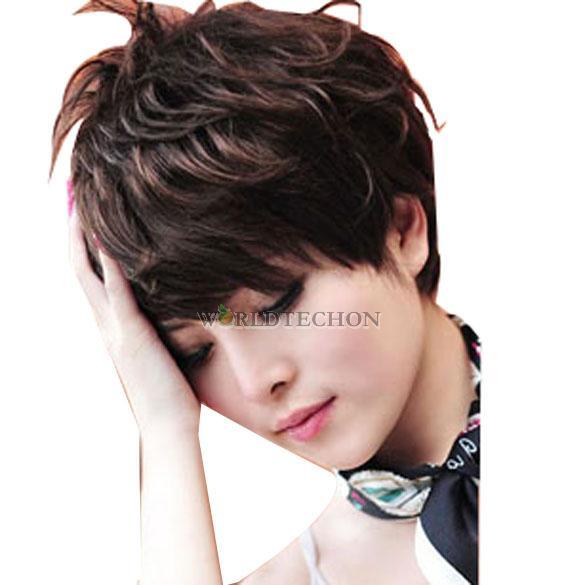 W7t # новый стильный женщины полный парик короткие пушистый короткие вьющиеся темно-коричневый леди парик волос